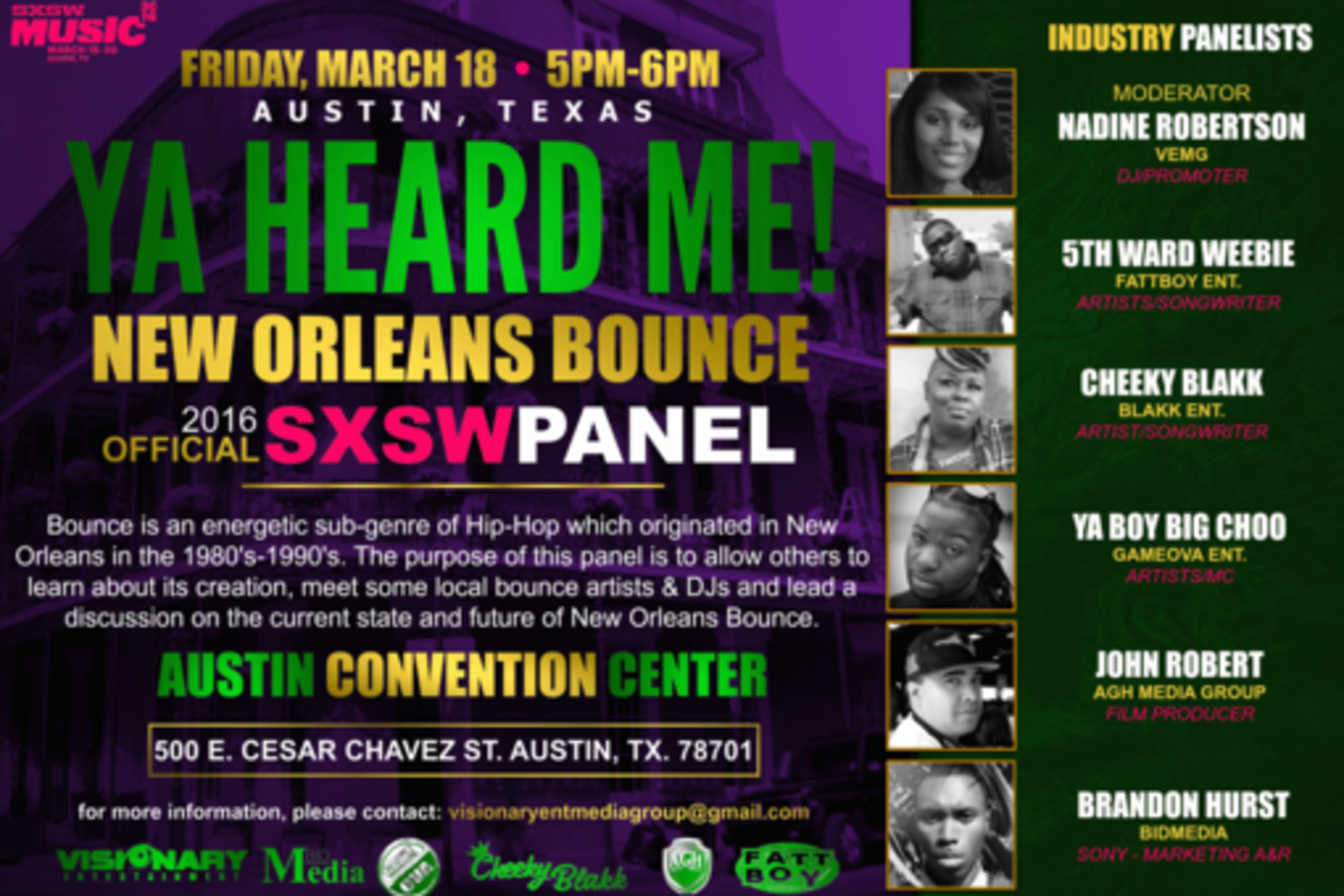Round table discussion - Ya Heard Me New Orleans Bounce Sxsw 2016 Event Schedule